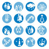 Color cristmas icons set Royalty Free Stock Image