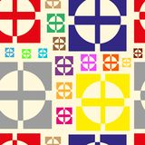 Color crosses in circles and squares Royalty Free Stock Photography