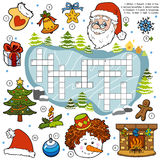 Color crossword, education game for children about Christmas Stock Photos