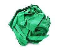 Color crumpled sheet of paper isolated. On white stock image