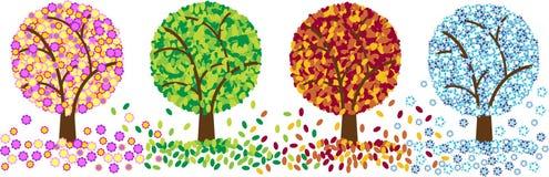 Color cuatro árboles de las estaciones Imagen de archivo