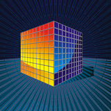 Color cube consisting of thousands of cubes in spa Stock Photo