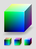 Color cube - green and blue. Vector color 3D cube with shading and lighting, representing RGB color space. 4 different views Stock Photos