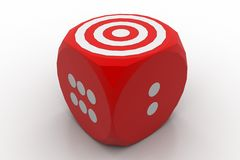 Color cube with target sign Stock Photos