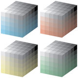 Color cubes. Layered and grouped illustration for easy editing, no gradients used Royalty Free Stock Photo