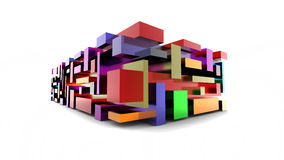 Color cubes. Abstract color cubes construction on white Royalty Free Stock Photo