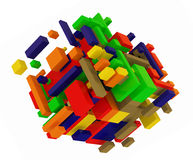 Color cubes. Abstract color cubes construction on white Stock Photo
