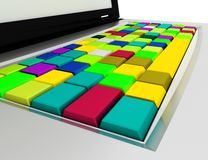 Color cubes. Abstract cloud of color cubes. 3d render Stock Photos