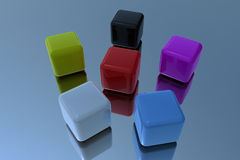 Color cubes in 3D. Different color cubes in 3D Stock Photos