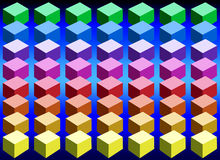 Color Cubes. Cubes arranged in rows in an ascending order based on the color spectrum Stock Photo