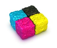 Color cubes, cmyk palette Stock Photos