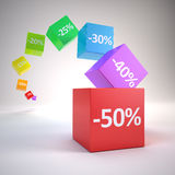 Color cubes with discount percents Royalty Free Stock Images
