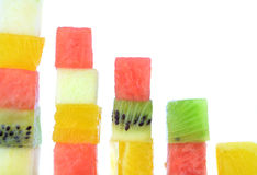 Color cubes of fruits Stock Image
