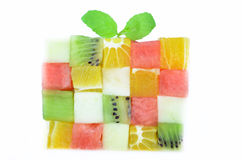 Color cubes of fruits Stock Photography