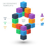 Color cubes info graphic template for presentation Stock Image