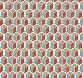 Color cubes pattern. Multi color cubes on light yellow background seamless pattern stock illustration