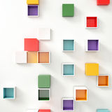 Color Cubes in a random of pattern on White Wall. Abstract composition Royalty Free Stock Photos
