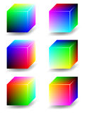 Color cubes - RGB. Vector color 3D cubes representing RGB color space. Six different views. Created using gradient meshes Stock Photo