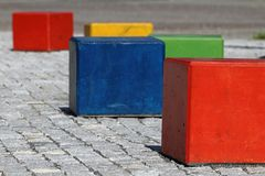 Color cubes (RGB) architecture Royalty Free Stock Images