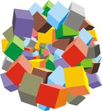 Color cubes sphere. Isolated on the white background Stock Image