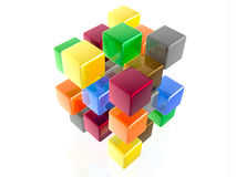 Color cubes. In the white background Stock Photo
