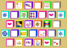 Color cubes with  windows. Color cubes with windows for drawings on a beige background Stock Images