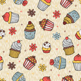 Color cupcake seamless pattern Royalty Free Stock Image