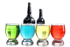 Color cups and bottles Stock Photography