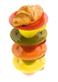 Color cups and fresh croissant Royalty Free Stock Photo