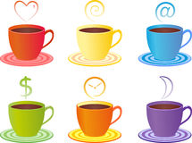 Color cups, strem icons Stock Photos