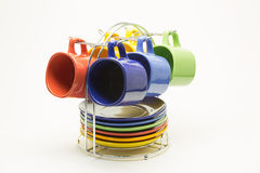 Color cups on a white background Royalty Free Stock Photography