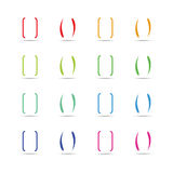 Color curly brackets, braces vector set Royalty Free Stock Images