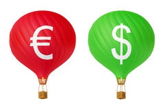 Color currency hot air balloons. Dollar and euro Stock Photos