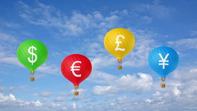 Color currency hot air balloons stock footage