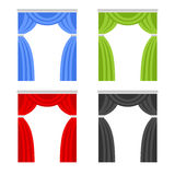 Color Curtain Set. Window Cover Blind on White Background. Vector Royalty Free Stock Photos