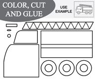 Color, cut and glue image of fire escape car. Educational game for children.  vector illustration
