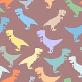 Color cute dinosaurs seamless background. Repeating pattern of T Stock Images