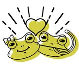 Color cute frog couple animal with heart design. Vector illustration Royalty Free Stock Photography