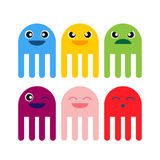 Color cute jellyfish smiling icon stock photography