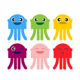 Color cute jellyfish smiling icon set Stock Photo