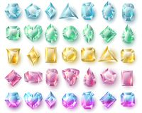 Color cutting gems, nature brilliants. Precious stones and diamonds vector set  on white background. Brilliant stone, diamond gem precious illustration Stock Photography