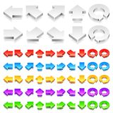 Color 3D Arrows. Collection of color 3d arrows icons isolated on white background Royalty Free Stock Photo