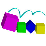 Color 3D cubes - abstract background Royalty Free Stock Photography