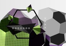 Color 3d geometric composition poster. Vector illustration of colorful triangles, pyramids, hexagons and other shapes on grey background Stock Photography