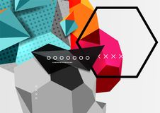 Color 3d geometric composition poster. Vector illustration of colorful triangles, pyramids, hexagons and other shapes on grey background Stock Photos