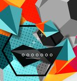 Color 3d geometric composition poster. Vector illustration of colorful triangles, pyramids, hexagons and other shapes on grey background Stock Images