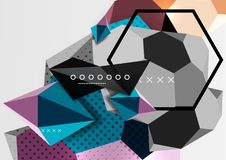 Color 3d geometric composition poster. Vector illustration of colorful triangles, pyramids, hexagons and other shapes on grey background Royalty Free Stock Photos