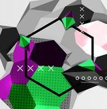 Color 3d geometric composition poster. Vector illustration of colorful triangles, pyramids, hexagons and other shapes on grey background Stock Photo