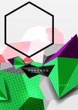 Color 3d geometric composition poster. Vector illustration of colorful triangles, pyramids, hexagons and other shapes on grey background Royalty Free Stock Photography
