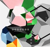 Color 3d geometric composition poster. Vector illustration of colorful triangles, pyramids, hexagons and other shapes on grey background Royalty Free Stock Image